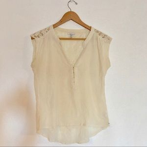 O'Neill Off White V-Neck Top with Crochet Lace